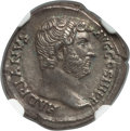 Ancients:Roman Imperial, Ancients: Hadrian (AD 117-138). AR denarius (17mm, 2.87 gm, 7h).NGC Choice XF 5/5 - 5/5, Fine Style....
