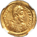 Ancients:Roman Imperial, Ancients: Honorius, Western Roman Empire (AD 393-423). AV solidus(22mm, 4.41 gm, 6h). NGC MS 5/5 - 4/5, lt. scuffs....