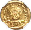 Ancients:Byzantine, Ancients: Maurice Tiberius (AD 582-602). AV solidus (22mm, 4.51 gm,7h). NGC Choice MS 5/5 - 4/5....