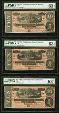 Confederate Notes:1864 Issues, T68 $10 1864, Three Consecutive Examples PMG Choice Uncirculated 63 EPQ.. ... (Total: 3 notes)