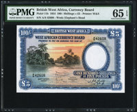 British West Africa West African Currency Board 100 Shillings = 5 Pounds 26.4.1954 Pick 11b PMG Gem Uncirculated 6