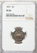 Proof Shield Nickels, 1871 5C PR63 NGC. NGC Census: (34/213). PCGS Population: (42/299). PR63. Mintage 960. . From The Indian Collection....
