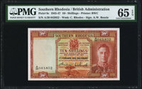 Southern Rhodesia Southern Rhodesia Currency Board 10 Shillings 1.2.1945 Pick 9c PMG Gem Uncirculated 65 EPQ.<