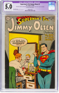 Superman's Pal Jimmy Olsen #1 (DC, 1954) CGC Apparent VG/FN 5.0 Slight/Moderate (C-2) Off-white to white pages