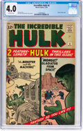 Silver Age (1956-1969):Superhero, The Incredible Hulk #4 (Marvel, 1962) CGC VG 4.0 Off-whitepages....