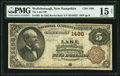 National Bank Notes:New Hampshire, Wolfborough, NH - $5 1882 Brown Back Fr. 468 The Lake National Bank Ch. # 1486 PMG Choice Fine 15 Net.. ...