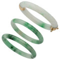 Estate Jewelry:Bracelets, Jadeite Jade, Gold Bracelets . ... (Total: 3 Items)