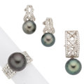 Estate Jewelry:Suites, Black South Sea Cultured Pearl, Diamond, White Gold Jewelry Suite.... (Total: 3 Items)