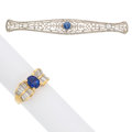 Estate Jewelry:Rings, Diamond, Sapphire, Synthetic Sapphire, Platinum-Topped Gold, GoldJewelry. ... (Total: 2 Items)