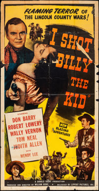 """I Shot Billy the Kid & Other Lot (Lippert, 1950). Folded, Very Good/Fine. Three Sheets (2) (40.5"""" X 78.5""""..."""