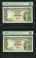 World Currency, New Zealand Reserve Bank of New Zealand 10 Pounds ND (1967) Pick 161d, Five Consecutive Examples PMG Gem Uncirculated 66 E... (Total: 5 notes)