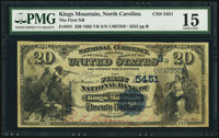 Kings Mountain, NC - $20 1882 Value Back Fr. 581 The First NB Ch. # (S)5451 PMG Choice Fine 15