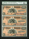 Canadian Currency, Hamilton, ON- Bank of Hamilton $10-$10-$10 2.1.1904 Ch. # 345-18-04S Specimen Uncut Sheet PMG Choice Uncirculated 64.. ...