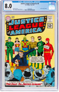 Silver Age (1956-1969):Superhero, Justice League of America #8 (DC, 1962) CGC VF 8.0 Off-white towhite pages....