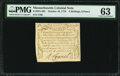 Colonial Notes:Massachusetts, Massachusetts October 16, 1778 4s 6d PMG Choice Uncirculated 63.....