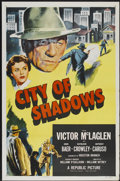"Movie Posters:Crime, City of Shadows (Republic, 1955). One Sheet (27"" X 41""). Crime...."