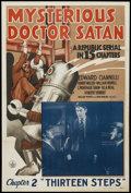 "Movie Posters:Serial, Mysterious Doctor Satan (Republic, 1940). One Sheet (27"" X 41"")Chapter 2 -- ""Thirteen Steps."" Serial...."