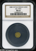 California Fractional Gold: , 1880 25C Indian Octagonal 25 Cents, BG-799Y, High R.4, MS62 NGC....