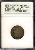 Early Dimes: , 1805 10C 5 Berries Poor1--Graffiti, Damaged, Bent--ANACS, FairDetails JR-1....
