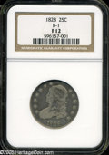 """Bust Quarters: , 1828 25C Fine12 NGC B-1. The current Coin Dealer Newsletter(Greysheet) wholesale """"bid"""" price is $100.00...."""