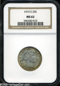 Barber Quarters: , 1915-S 25C MS62 NGC. ...
