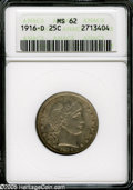 Barber Quarters: , 1916-D 25C MS62 ANACS. ...