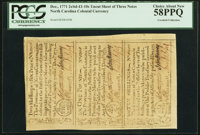 North Carolina December, 1771 2s6d-1L-10s Uncut Sheet of Three Notes PCGS Choice About New 58PPQ