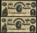 Confederate Notes:1864 Issues, Consecutive Pair T65 $100 1864 Choice About Uncirculated.. ... (Total: 2 notes)