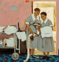 Norman Rockwell (American, 1894-1978) Just Married, The Saturday Evening Post cover study, 1957 Oil