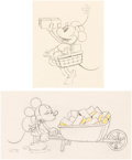 Animation Art:Limited Edition Cel, Building a Building Mickey Mouse and Minnie Mouse AnimationDrawings Group of 2 (Walt Disney, 1933). ... (Total: 2 OriginalArt)