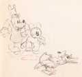 Animation Art:Production Drawing, Mickey's Service Station Mickey Mouse, Goofy, and DonaldDuck Animation Drawing (Walt Disney, 1935)....