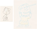 Animation Art:Limited Edition Cel, Peanuts Charlie Brown with Other Animation Drawings and Production Cel Group of 4 (Bill Melendez Studio, c. 1980s).... (Total: 4 Items)