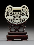 Carvings, A Chinese Carved White Jade Lock Pendant on Hardwood Stand. 4-1/8 x 3 x 1-1/4 inches (10.5 x 7.6 x 3.2 cm) (overall). ...