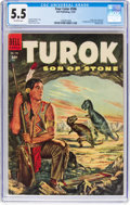 Golden Age (1938-1955):Miscellaneous, Four Color #596 Turok (Dell, 1954) CGC FN- 5.5 Off-white pages....