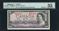 Canadian Currency, Solid Serial Number 2222222 BC-40b $10 1954 PMG About Uncirculated 55.. ...