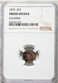 Proof Three Cent Silver, 1870 3CS -- Cleaned -- NGC Details. Proof. NGC Census: (3/218). PCGS Population: (7/315). PR60. Mintage 1,000.. Fro...