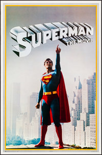 """Superman the Movie (Warner Brothers, 1978). Rolled, Very Fine+. Promo Posters (2) Identical (23"""" X 35""""). Actio..."""
