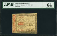 Continental Currency January 14, 1779 $50 PMG Choice Uncirculated 64 EPQ