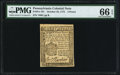 Colonial Notes:Pennsylvania, Pennsylvania October 25, 1775 3d PMG Gem Uncirculated 66 EPQ.. ...