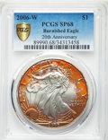 Modern Bullion Coins, 2006-W $1 Silver Eagle, 20th Anniversary, Burnished, 68 PCGS Secure. PCGS Population: (882/11578 and 0/0+). NGC Census: (38...