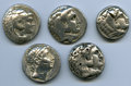 Ancients:Ancient Lots  , Ancients: ANCIENT LOTS. Greek. Macedonian and Seleucid Kingdoms.Ca. 336-187 BC. Lot of five (5) AR tetradrachms. Fine, test cuts,banke... (Total: 5 coins)