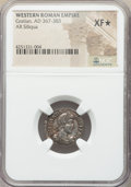 Ancients:Roman Imperial, Ancients: Gratian, Western Roman Empire (AD 367-383). AR siliqua(18mm, 12h). NGC XF ★ ...