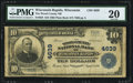 National Bank Notes:Wisconsin, Wisconsin Rapids, WI - $10 1902 Plain Back Fr. 628 The Wood County NB Ch. # 4639 PMG Very Fine 20.. ...