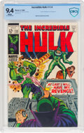 Silver Age (1956-1969):Superhero, The Incredible Hulk #114 (Marvel, 1969) CBCS NM 9.4 White pages....