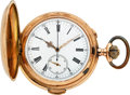 Timepieces:Pocket (post 1900), Invicta Large 14k Gold Minute Repeater With Chronograph. ...
