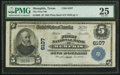 National Bank Notes:Texas, Memphis, TX - $5 1902 Plain Back Fr. 608 The First NB Ch. # 6107 PMG Very Fine 25.. ...
