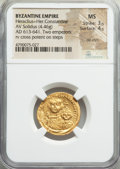 Ancients:Byzantine, Ancients: Heraclius (AD 610-641) and Heraclius Constantine (AD613-641). AV solidus (21mm, 4.46 gm, 6h). NGC MS 3/5 - 4/5, dieshift....