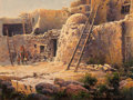 American, Bruce Cheever (American, b. 1958). Acoma Pueblo. Oil onpanel. 9 x 12 inches (22.9 x 30.5 cm). Signed lower right:Bru...