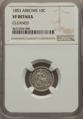 Seated Dimes, 1853 10C Arrows -- Cleaned -- NGC Details. VF. NGC Census: (10/920). PCGS Population: (6/1138). VF20. Mintage 12,078,010....