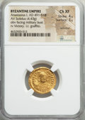 Ancients:Byzantine, Ancients: Anastasius I (AD 491-518). AV solidus (19mm, 4.43 gm,5h). NGC Choice XF 4/5 - 3/5, wrinkled, lt. graffito. ...